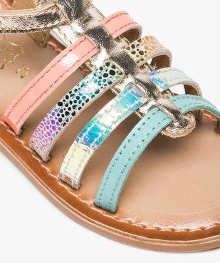 Sandales filles avec brides en cuir multicolores vue6 - GEMO (ENFANT) - GEMO