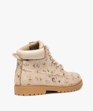 Boots femme à lacets col rembourré et semelle crantée Dessus imprimé fleuri vue4 - GEMO (CASUAL) - GEMO