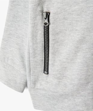 Sweat garçon zippé à capuche et jeux de côtes vue2 - GEMO (ENFANT) - GEMO