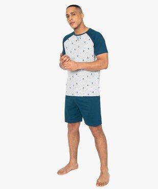 Pyjashort homme en coton stretch motif bateau vue1 - GEMO(HOMWR HOM) - GEMO