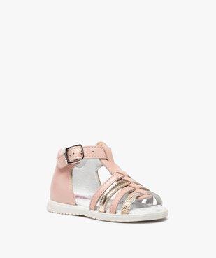 Sandales bébé filles en cuir détails métallisés - Bopy vue2 - BOPY - GEMO