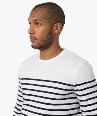 Tee-shirt homme rayé à manches longues et col rond vue2 - GEMO (HOMME) - GEMO