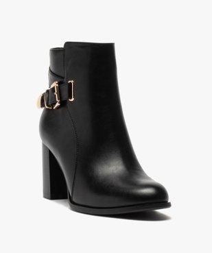 Boots femme unis à talon carré et bride fantaisie vue2 - GEMO(URBAIN) - GEMO