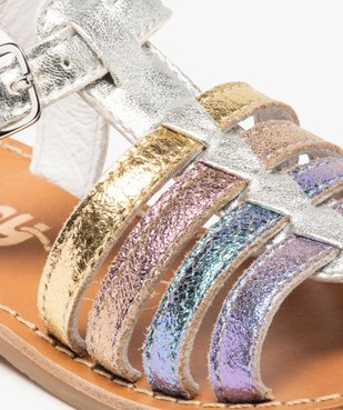 Sandales filles à brides en cuir arc-en-ciel - Bopy vue6 - BOPY - GEMO