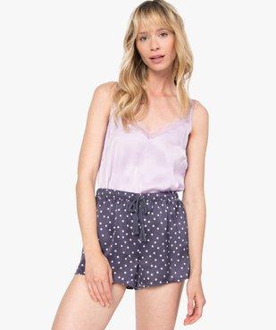 Haut de pyjama femme à fines bretelles et dos dentelle vue5 - GEMO(HOMWR FEM) - GEMO
