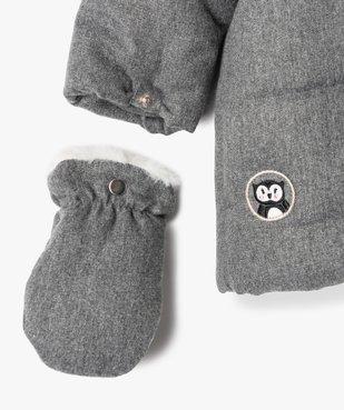 Parka bébé fille doublée à moufles et fermeture asymétrique vue3 - GEMO(BEBE DEBT) - GEMO
