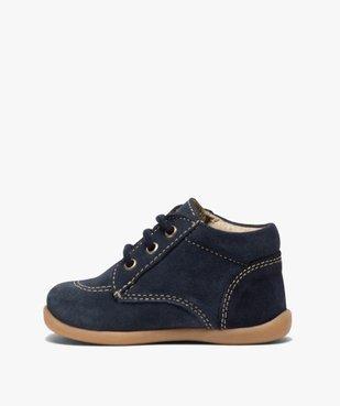 Chaussures premiers pas bébé garçon unies en cuir vue3 - GEMO(BEBE DEBT) - GEMO