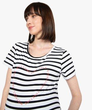 Tee-shirt de grossesse à rayures et inscription vue2 - GEMO (MATER) - GEMO