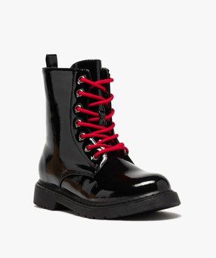 Boots femme rangers à semelle crantée lacets contrastés Dessus uni et vernis vue2 - GEMO (CASUAL) - GEMO