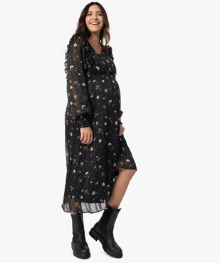 Robe de grossesse longue en voile et motif fleuri vue1 - Nikesneakers (MATER) - Nikesneakers
