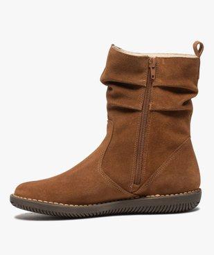 Boots fourrées femme à talon plat dessus cuir retourné uni vue3 - GEMO (CASUAL) - GEMO