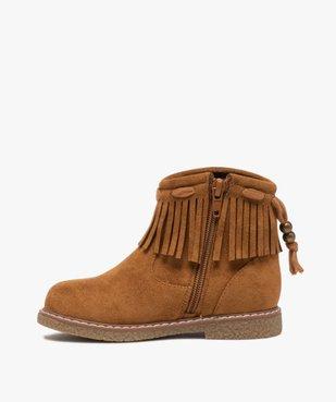 Boots fille en suédine unie avec col à franges vue3 - GEMO (ENFANT) - GEMO