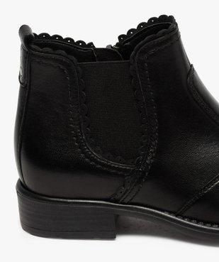 Boots fille style chelsea dessus cuir uni à bords dentelés vue6 - GEMO (ENFANT) - GEMO