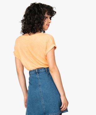 Tee-shirt femme en maille gaufrée avec petit bijou au col vue3 - GEMO(FEMME PAP) - GEMO