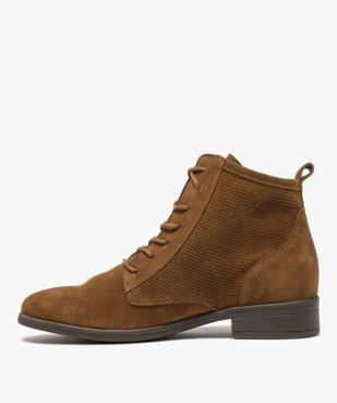 Boots femme à talon plat dessus cuir style godillots vue3 - GEMO (CASUAL) - GEMO