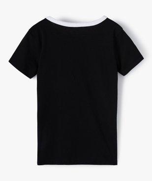 Tee-shirt fille à message avec col contrastant vue3 - GEMO (JUNIOR) - GEMO
