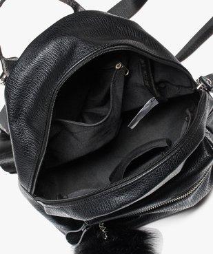 Petit sac à dos grainé avec pompon vue3 - GEMO (ACCESS) - GEMO