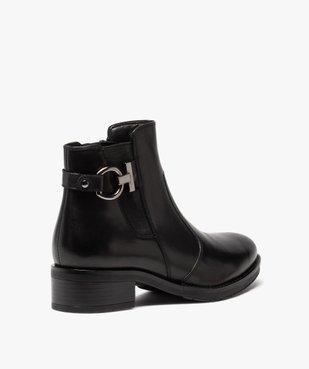 Boots femme à talon plat unis dessus cuir et bride fantaisie vue4 - GEMO (CASUAL) - GEMO