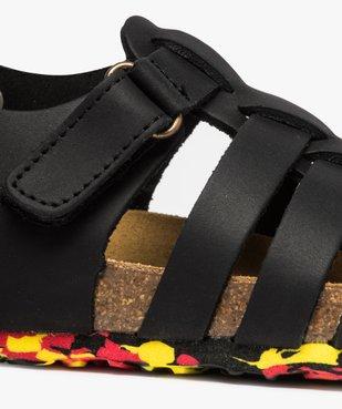Sandales garçon unies en cuir avec bride à scratch vue6 - GEMO (ENFANT) - GEMO