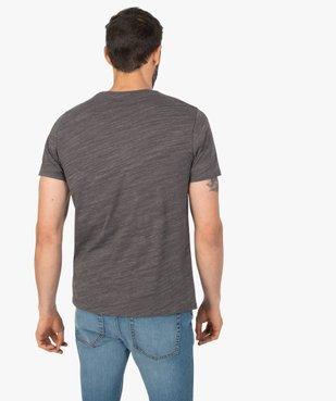 Tee-shirt homme chiné à manches courtes et col tunisien  Matière chinée vue3 - GEMO C4G HOMME - GEMO
