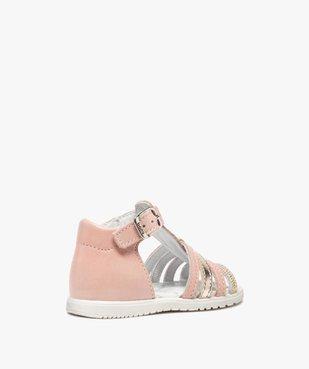 Sandales bébé filles en cuir détails métallisés - Bopy vue4 - BOPY - GEMO