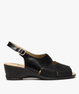 Sandales femme confort en cuir uni et talon compensé vue1 - GEMO (CONFORT) - GEMO