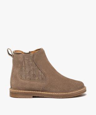 Boots fille zippées dessus cuir retourné style chelsea vue1 - GEMO (ENFANT) - GEMO