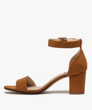 Sandales femme à talon large et bride cheville dessus suédine vue3 - GEMO(URBAIN) - GEMO
