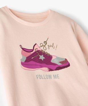 Tee-shirt fille avec motifs pailleté sur l'avant vue2 - GEMO (ENFANT) - GEMO