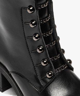 Boots femme à talon carré avec lacets chaînettes vue6 - GEMO(URBAIN) - GEMO
