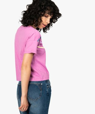 Tee-shirt femme avec inscriptions et bandes colorées vue3 - FOLLOW ME - GEMO