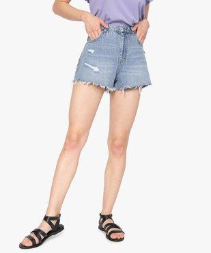 Short femme en jean aspect usé – Lulu Castagnette vue1 - LULUCASTAGNETTE - GEMO