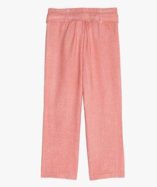 Pantalon fille large et fluide à taille paper bag vue3 - GEMO (ENFANT) - GEMO