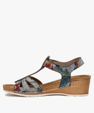 Sandales femme à talon compensé fermeture scratch vue3 - GEMO(URBAIN) - GEMO