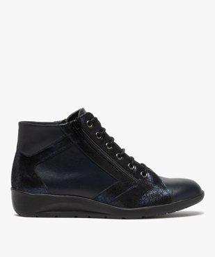 Boots femme confort zippées à talon compensé dessus cuir vue1 - GEMO (CONFORT) - GEMO