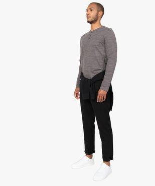 Tee-shirt homme à manches longues et col tunisien vue5 - GEMO (HOMME) - GEMO