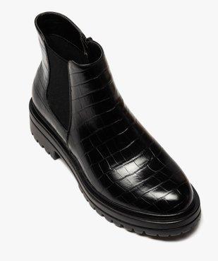Boots femme unis à semelle crantée dessus imitation croco vue5 - GEMO (CASUAL) - GEMO