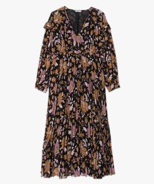 Robe femme longue en voile fleuri et plissé vue4 - GEMO(FEMME PAP) - GEMO