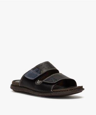 Sandales homme mules dessus et intérieur cuir vue2 - ZEN AIR - GEMO