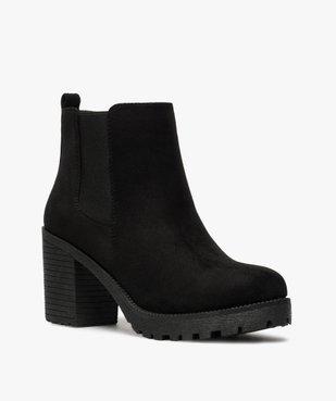 Boots femme à talon et semelle crantée en suédine unie vue2 - GEMO(URBAIN) - GEMO