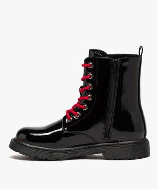 Boots femme rangers à semelle crantée lacets contrastés Dessus uni et vernis vue3 - GEMO (CASUAL) - GEMO