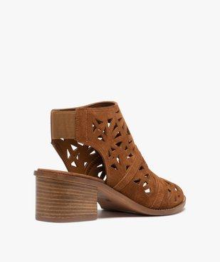 Sandales femme à talon carré et tige couvrante ajourée vue4 - GEMO(URBAIN) - GEMO