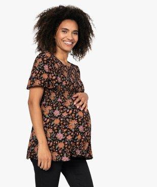 Blouse de grossesse à smocks et fleurs vue1 - GEMO (MATER) - GEMO