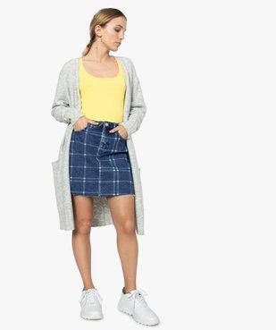 Jupe femme en jean à motif carreaux et bord franc vue5 - FOLLOW ME - GEMO