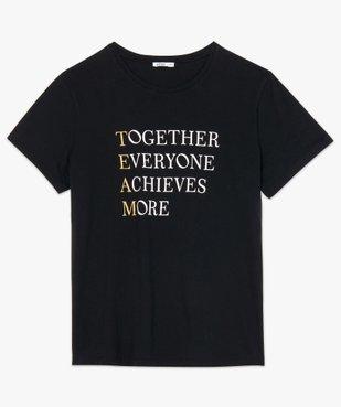 Tee-shirt femme avec inscriptions et paillettes vue4 - GEMO (G TAILLE) - GEMO