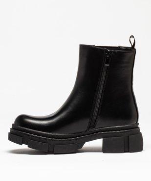 Boots femme unies style rock à semelle plateforme crantée vue3 - GEMO (CASUAL) - GEMO