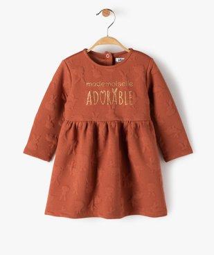 Robe bébé fille ample à manches longues et motifs en relief vue1 - Nikesneakers(BEBE DEBT) - Nikesneakers