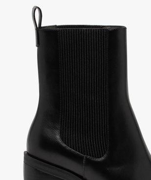 Boots femme à talon carré dessus uni style chelsea vue6 - GEMO(URBAIN) - GEMO