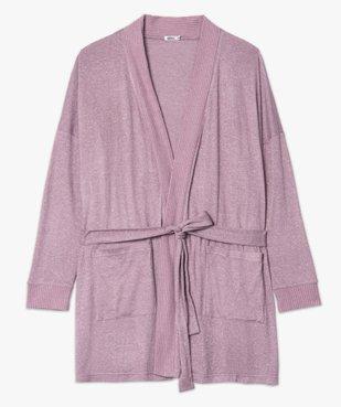 Veste d'intérieur femme en maille douce avec ceinture à nouer vue4 - GEMO(HOMWR FEM) - GEMO