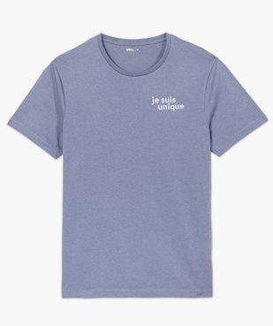 Tee-shirt homme à manches courtes à message brodé 100% coton biologique vue4 - GEMO (HOMME) - GEMO